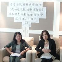香港母乳育嬰協會主席黎黃佩嫦 (左) 及該會顧問兒科專科藍章翔醫生 (右)